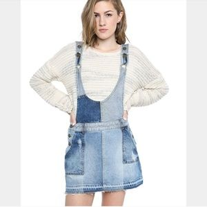 Free People Patchwork Blues Denim Overall Dress